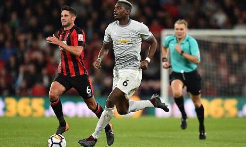 Pogba nhận được lời khen từ Mourinho và Scholes - những người chỉ trích anh sau trận thua West Brom. Ảnh: AFP.