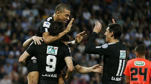 Bộ ba Cavani, Mbappe và Di Maria cùng nhau tỏa sáng. Ảnh:AFP.