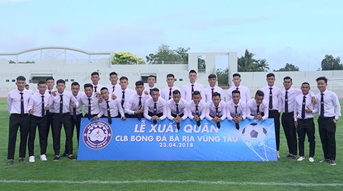 CLB BR-VT trong lễ xuất quân dự mùa giải hạng Nhì 2018. Ảnh: Thu Hương.