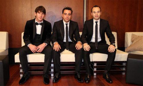 Messi, Xavi và Iniesta là ba ứng cử viên hàng đầu tại giải Quả Bóng Vàng 2010. Ảnh: Reuters