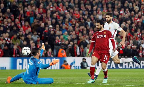 Salah ghi bàn thắng thứ 43 trong mùa giải năm nay. Ảnh:Reuters.