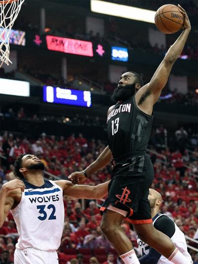 James Harden trong một pha lên rổ thành công, góp phần đưa Rockets vào bán kết. Ảnh: AP.