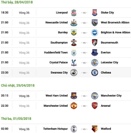 Lịch thi đấu vòng 36 Ngoại hạng Anh, theo giờ Hà Nội.