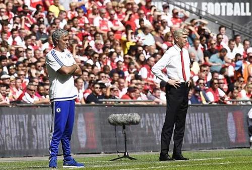 Mourinho và Wenger trong trận tranh Siêu cup Anh năm 2015. Ảnh: EPA.