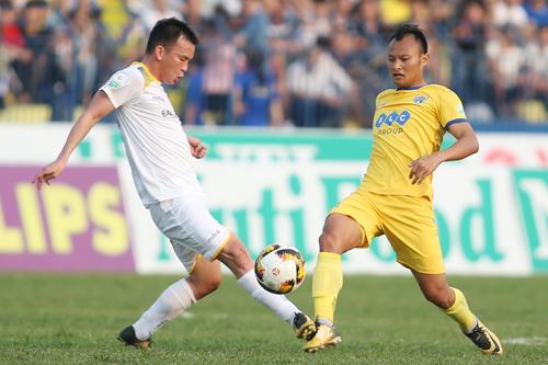 Thanh Hoá (áo vàng) nuôi mộng chinh phục chức vô địch V-League 2018. Ảnh: Lâm Thỏa