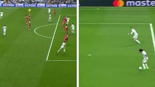 Hai lần Ronaldo nhận bóng khi việt vị ở trận tứ kết lượt về với Bayern mùa trước.