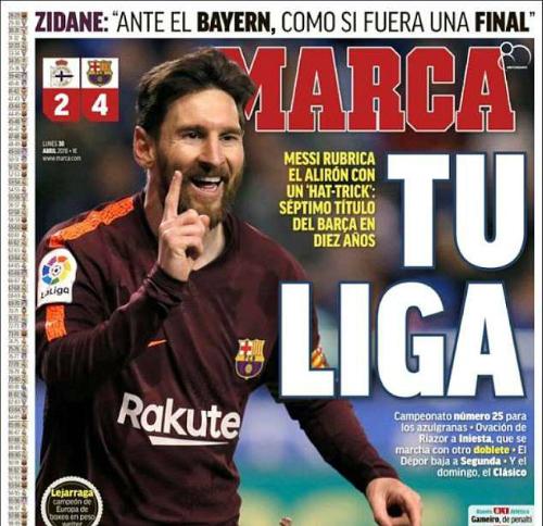 Trang nhất tờ Marca với hình ảnh Messi.