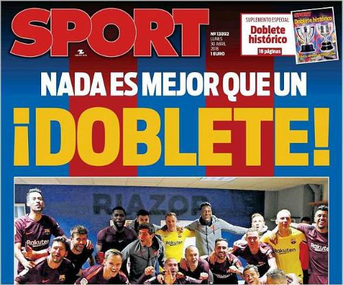 Cú đúp quốc nội thể hiện sự thống trị của Barca tại Tây Ban Nha.