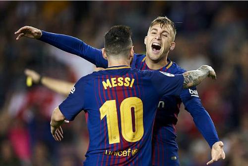 Deulofeu ghi một bàn và kiến tạo một bàn trong 10 trận đá cho Barca ở Liga mùa này. Ảnh:AFP.
