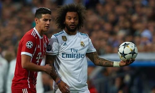 Real may mắn thoát phạt đền dù Marcelo để bóng chạm tay. Ảnh: Reuters.
