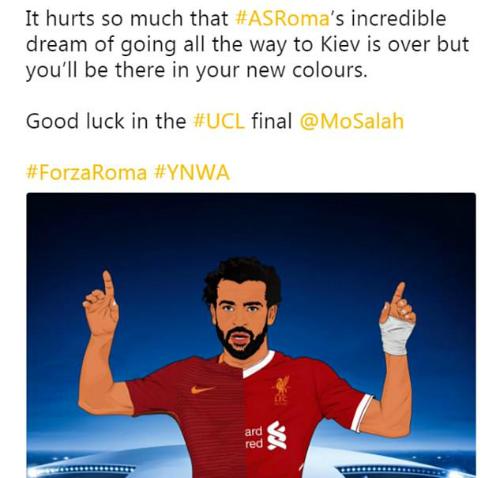 Roma gửi lời chúc Salah vô địch Champions League - 1
