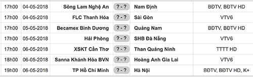 Lịch thi đấu vòng 7 V-League 2018.