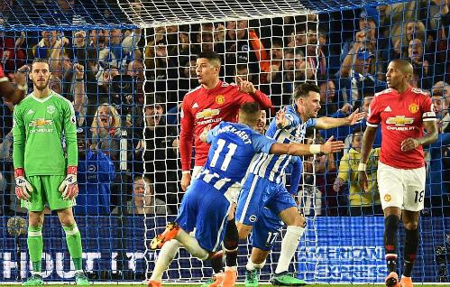 Bàn thắng mang ý nghĩa quan trọng khi giúp Brighton chính thức trụ hạng. Ảnh:AFP.