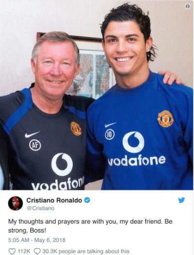 Chia sẻ của Ronaldo khi biết tin về sức khoẻ của Ferguson.