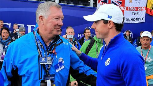 McIlroy và Ferguson là những người bạn lâu năm. Sau khi giải nghệ, Sir Alex nhiều lần đi xem các giải European Tour có sự hiện diện của McIlroy. Ảnh: Golfchannel.