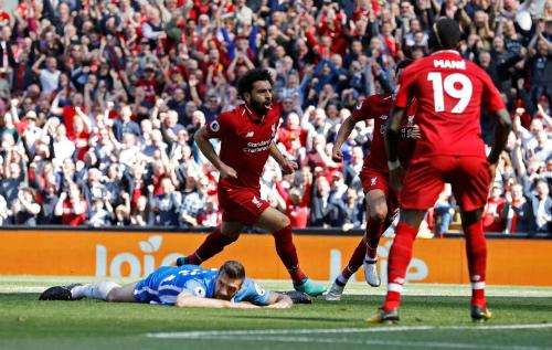 Tiền đạo người Ai Cập ghi bàn thứ 32 tại Ngoại hạng Anh mùa này. Ảnh:Reuters.