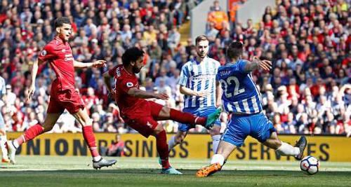 Salah ghi bàn mở tỷ số cho Liverpool. Ảnh:Reuters.