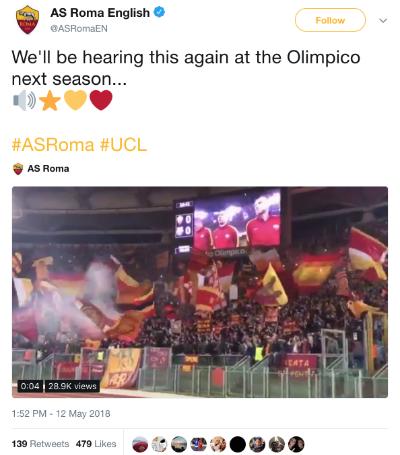 Roma hân hoan thông báo về việc đội được dự Champions League mùa sau, ngay sau khi biết Inter thất thủ dưới tay Sassuolo.