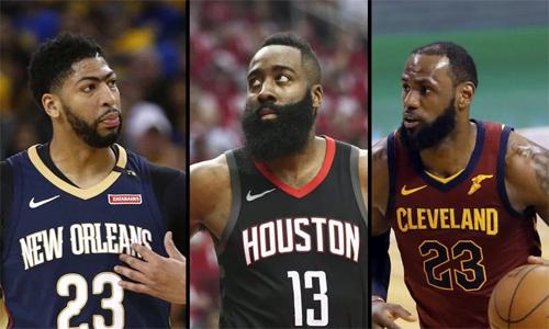 Davis, Harden và James sẽ tranh giải MVP mùa này của NBA. 100 nhà báo và các cổ động viên sẽ có cơ hội bình chọn đến trước ngày 26/6. Ảnh: USA Today.