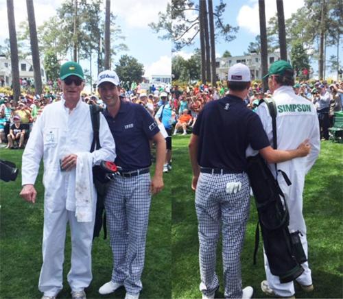 Hai cha con Webb Simpson tận hưởng khoảnh khắc được sát cánh cùng nhau tại Masters Par-3 Contest. Ảnh: Golf Digest.