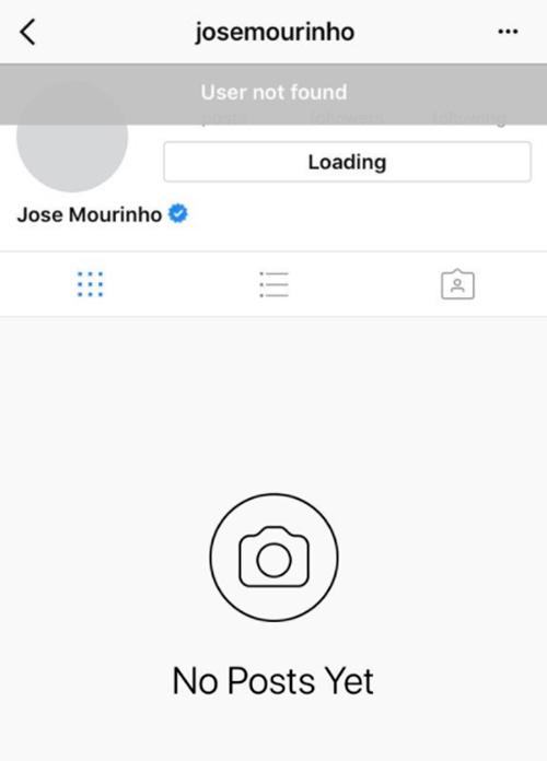 Thông báo khi truy cập vào tài khoản Instagram của Mourinho.