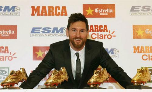Messi và bốn Giày vàng từng giành được. Ảnh: Marca