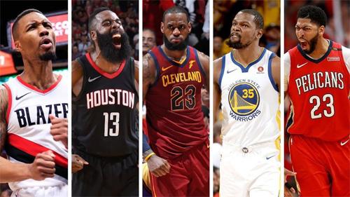 Đội hình năm cầu thủ hay nhất mùa giải 2017-18 của NBA. Ảnh: NBA.