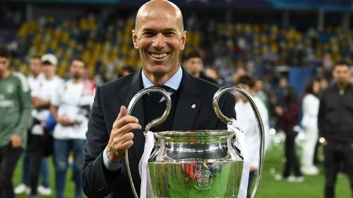 Zidane bên danh hiệu Champions League thứ ba chỉ sau hai mùa rưỡi dẫn dắt Real. Ảnh:Reuters.