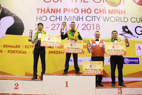 Cơ thủ Việt Nam áp đảo ở Cup Thế giới. Ảnh: HCMWC.