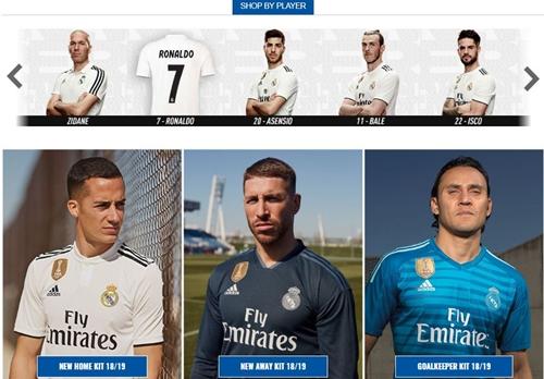 Hình ảnh Ronaldo trong trang bán hàng của Real được thay bằng chiếc áo đấu số 7.
