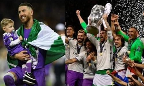 Ramos bị tưởng nhầm mang lá cờ Nigeria sau trận chung kết Champions League. Ảnh: AFP.