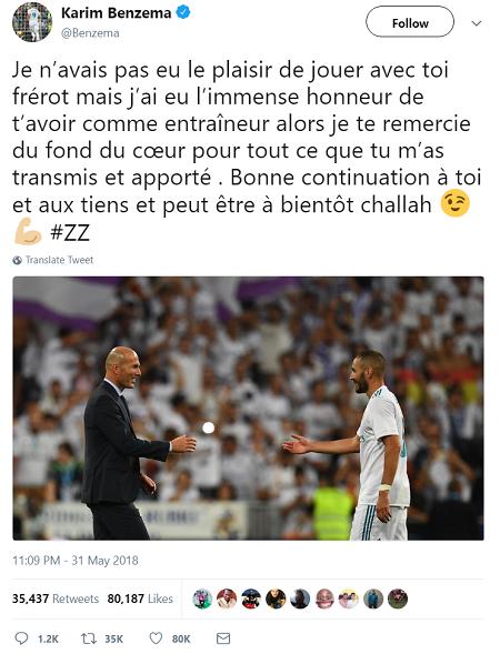 Benzema gửi lời tri ân Zidane trên Twitter.