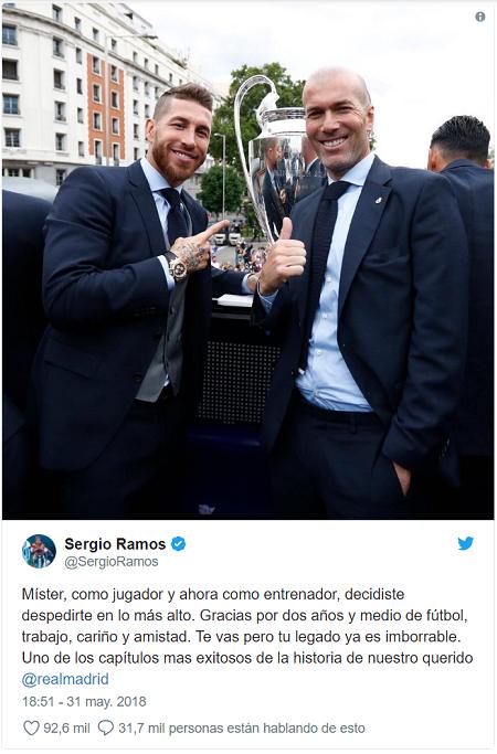 Thủ quân Ramos tri ân HLV Zidane. Ảnh chụp màn hình.