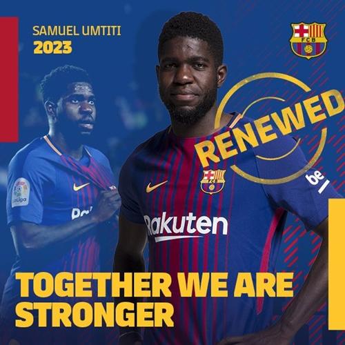Barca xác nhận việc giữ chân Umtiti. Ảnh: Twitter.