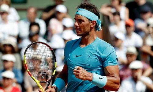 Nadal chứng tỏ sự vượt trội trước Del Potro. Ảnh: AFP.