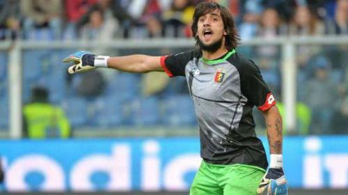 Thủ môn Mattia Perin trong màu áo Genoa. Ảnh:AFP.