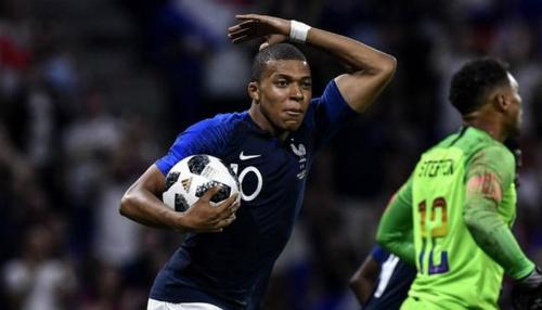 Mbappe ghi bàn thứ tư sau 15 trận cho Pháp. Ảnh:AFP.