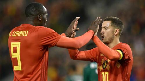 Hazard và Lukaku sẽ là cặp tiền đạo chính của Bỉ. Ảnh:AFP.