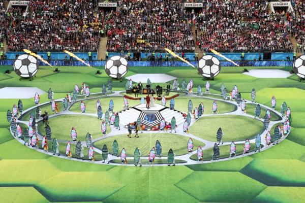 Lễ khai mạc World Cup 2018 nhìn từ trên cao. Ảnh: AFP.