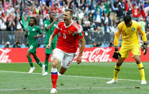 Cheryshev trở thành cầu thủ đầu tiên ghi cú đúp tại World Cup 2018. Ảnh:Reuters.