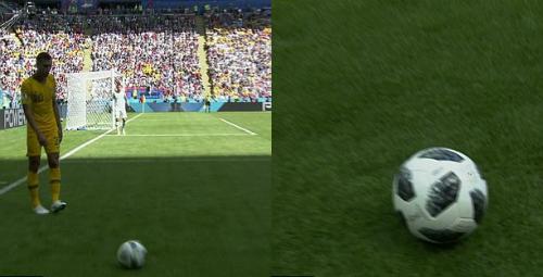 Quả bóng xịt lăn lắc lư trên sân. Ảnh:BBC.