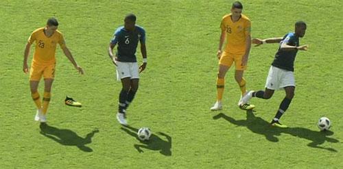 Đối thủ nhắc nhở Pogba khi bị rơi giày. Ảnh: BBC.