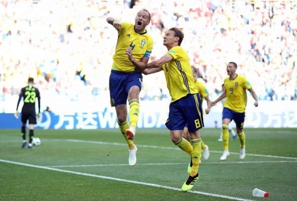 Thụy Điển chi sẻ ngôi đầu bảng F với Mexico. Ảnh: AFP.