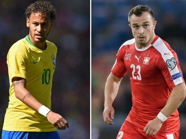 Neymar và Shaqiri là hai ngôi sao của Brazil và Thụy Sĩ. Ảnh: NDTV.