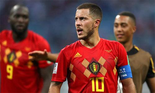 Hazard (giữa) là nhạc trưởng không thể thiếu của tuyển Bỉ. Ảnh: Reuters