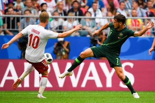 Eriksen mở tỷ số cho Đan Mạch ngay đầu trận. Ảnh: AFP.