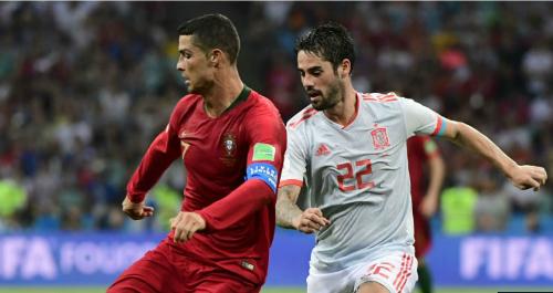 Bồ Đào Nha và Tây Ban Nha có cùng số điểm, số bàn thắng, bàn thua sau hai lượt trận đầu tiên. Ảnh:FIFA.