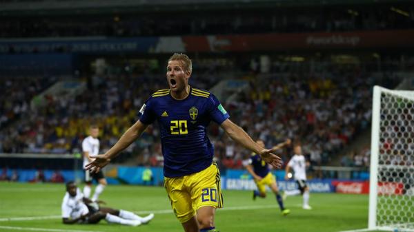 Thụy Điển khiến nhà đương kim vô địch sốc với bàn mở tỷ số của Toivonen. Ảnh:FIFA.