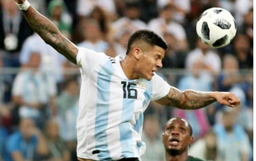 Tình huống bóng chạm tay Marcos Rộ trong vòng cấm nhưng Nigeria không được được hưởng đá phạt 11m.
