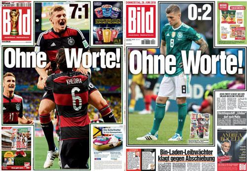 Tờ Bild đều cạn lời với tuyển Đức trong hai kỳ World Cup gần nhất.